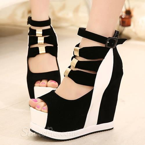 2f2e3e71c72d The second one  Perfect Contrast Colour PU Wedge Heel